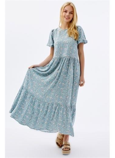 Pattaya Pattaya Kadın Çiçekli Kısa Kollu Yazlık Elbise P21S201-2034 Yeşil